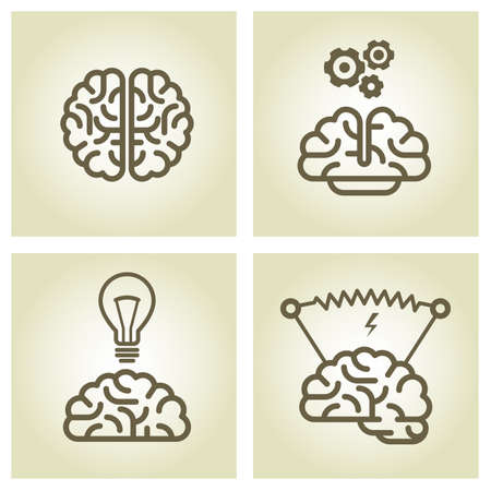 invention: Brain icon - invention and inspiration symbols Illustration
