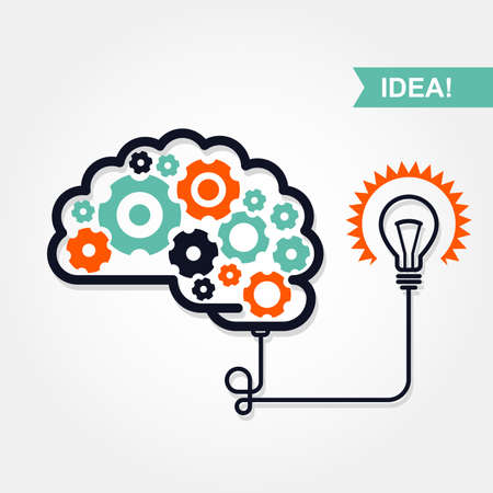 invention: Business idea or invention icon -  brain with gear wheel and light bulb