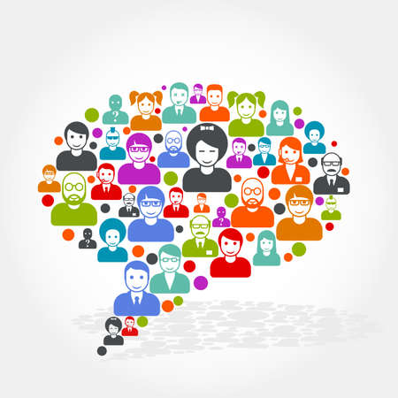intercourse: Social networking - speech bubble made of people icons Illustration