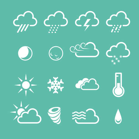 drizzle: Simple forecast  weather icons - sunny, foggy and snowy clouds