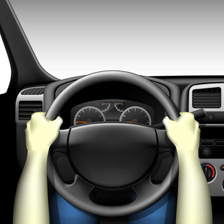 chauffeur: Car driver - car interior with dashboard and hands of driver, made with gradient mesh