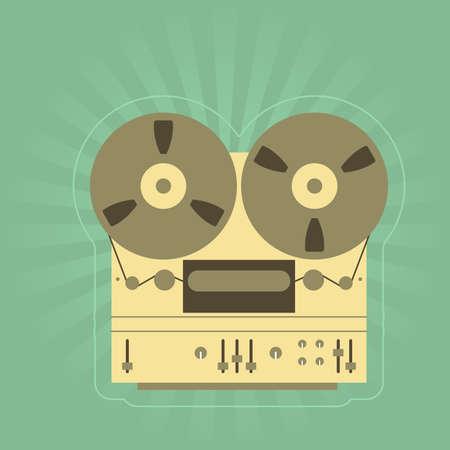 recorder: Retro open-reel tape recorder  magnetophone  Illustration