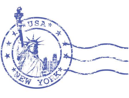 threadbare: Timbro Shabby con Statue of Liberty - attrazioni turistiche di New York