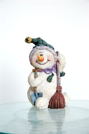 Vintage Snowman on Ice Stock Photo