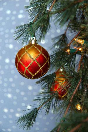 red glittery: Albero di Natale Ornamento - Oro e rossi rilucenti di Natale ornamento appeso su un ramo di albero di pino.