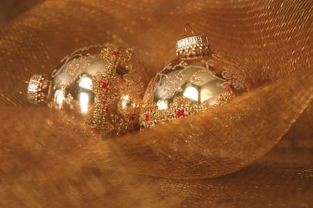 red glittery: Gold Christmas Ornaments