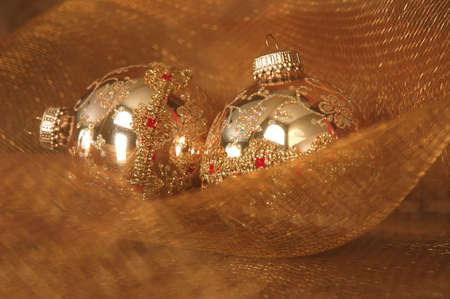 red glittery: Natale ornamenti d'oro