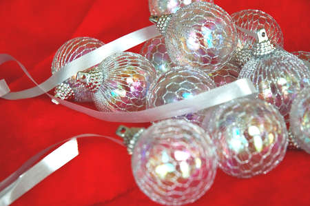 irridescent: Irridescent Christmas Ornaments and Silver Ribbon.