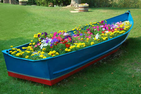 Boat full of flowers - An old row boat has been turned into a flower garden on the shore of Lake Michigan, USA.