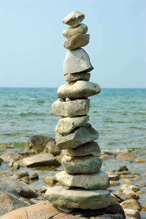 cairns: Balance Rocks - Cairns - Rock piles found on the shore of Lake Michigan USA.