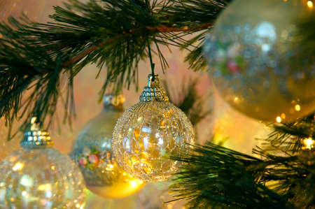 Christmas Tree - Vintage hand-made glass ornaments with sparkles and needlework design.