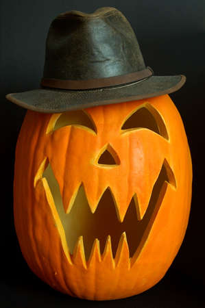 gremlin: Halloween Carved Pumpkin as Indiana Jones