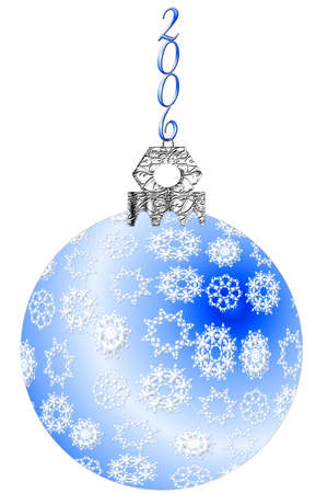 Blue Christmas tree ornament with white snowflakes, a silver top and 2006 hanger.  Artwork illustration isolated on white. Stock Illustration - 283627