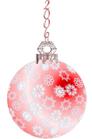 Red Christmas tree ornament with white snowflakes, a silver top and 2006 hanger.  Artwork illustration isolated on white. Stock Illustration - 283626