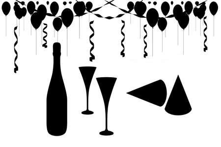 Illustrated party scene isolated black over white.  Balloons, champagne, glasses and hats. Stock Photo