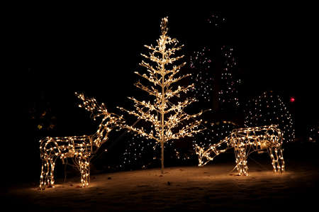 Lighted reindeer and christmas tree yard art in the snow. Stock Photo
