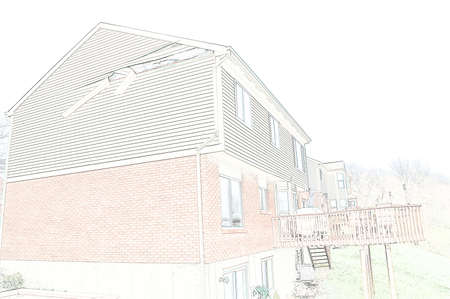 siding: Line art drawing of a house with the siding ripped loose from wind damage.