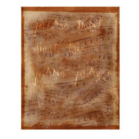 letras musicales: Antiguo papel con notas musicales que dice por favor No, lanza el Piano Player.