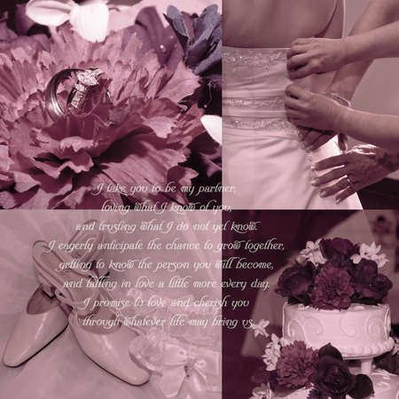 wedding vows: Background for scrapbooking with wedding vows and four wedding images. Stock Photo