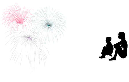 Silhouette of a young girl and boy sitting and watching a fireworks display.