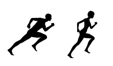 Silhouette figures in profile of a man and girl running.