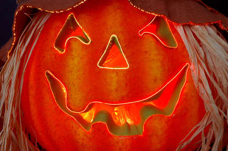 fiberoptic: Fiber optics lighted Jack O Lantern at Halloween