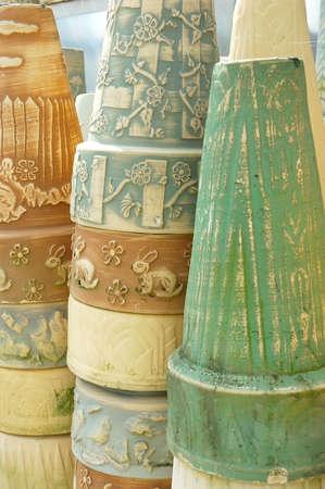stoneware: Stacks of stoneware pottery.