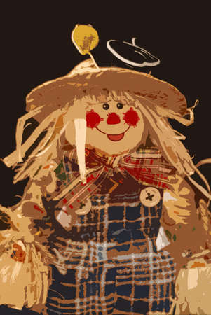 folkart: Scarecrow  -Computer drawn illustration of a scarecrow girl with a huge smile, plaid pants and a straw hat..  Stock Photo