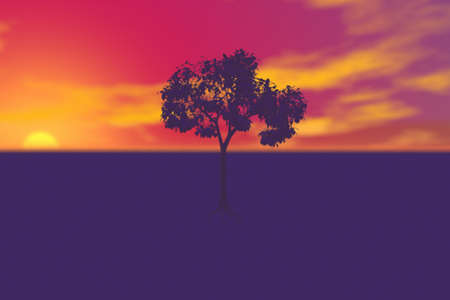 Lone Tree at Sunset - Computer illustration render of a single tree and brilliant sunset colors with a canvas textured surface. illustration