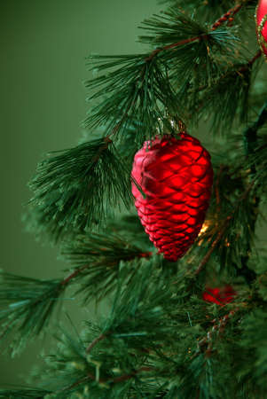 Christmas Tree - Red pinecone ornament hanging on a pine tree branch with a green background and space for copy.  photo
