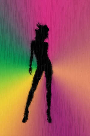 streaked: Woman Through Rain Streaked Glass - Illustration of a rainbow background and silhouette of a woman seen through a rain streaked window.