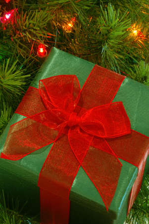 gossamer: Christmas Gift - A green fabric wrapped gift with a bright red gossamer ribbon and bow sits among the branches of a lighted christmas tree.