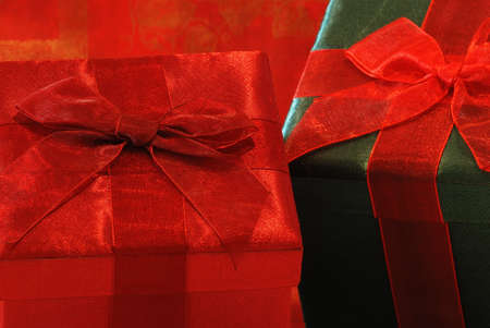 gossamer: Holiday Gifts - Pretty gifts in fabric covered boxes with gossamer ribbons and bows for a special person.