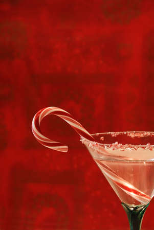 Candy Cane Cocktail - A beverage in a pretty glass ready to toast the holidays.   Stock Photo