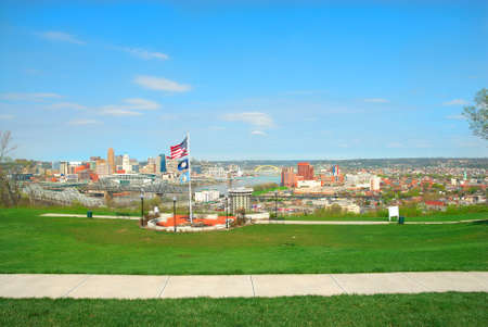overlook: View Of Cincinnati Ohio and Covington Kentucky From Devou Memorial Overlook. Built at the highest point of Devou Park the overlook features a breathtaking view of the Ohio River and the Cincinnati skyline.