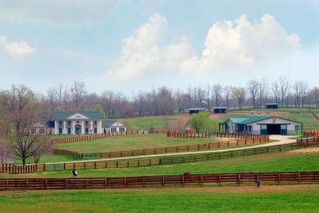 esgrima: Un hermoso caballo rancho cerca de Lexington Kentucky EE.UU..