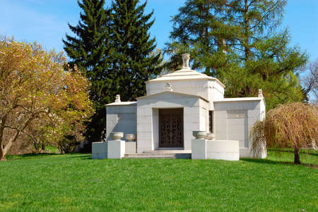 Memorial grave marker at historic Spring Grove Cemetery in Cincinnati Ohio USA.  Spring Grove is the second largest cemetery in the United States and was established in 1845. photo
