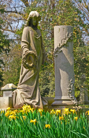 Memorial grave markers at historic Spring Grove Cemetery in Cincinnati Ohio USA.  Spring Grove is the second largest cemetery in the United States and was established in 1845. Stock Photo - 861812