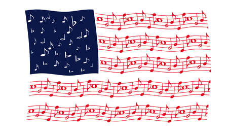 music: Waving flag in red, white and blue with musical notes for stars and stripes. Stock Photo
