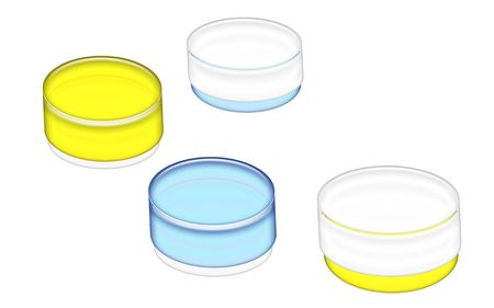 3D Illustration of cosmetics jars ready for your label on a white background.
