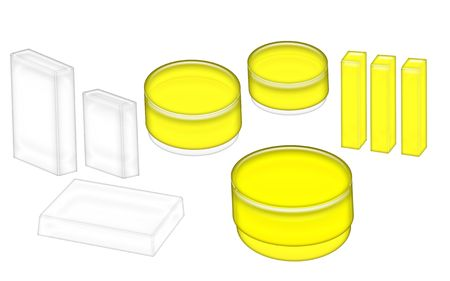 3D Illustration of yellow and white cosmetics jars and boxes ready for your label isolated on a white background. Stock Photo