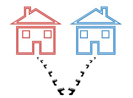 detach: Two houses with footprints starting out together and ending split up, conceptual image signifying confusion, uncertainty, indecision. Stock Photo