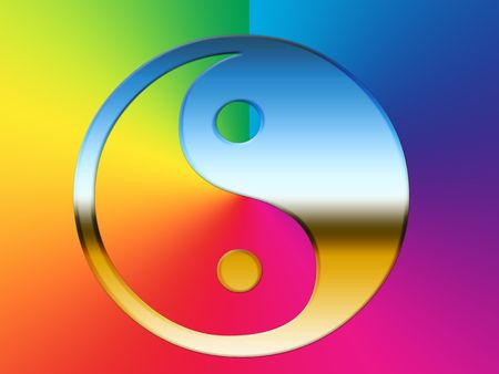 A rainbow colored yin and yang symbol illustration.