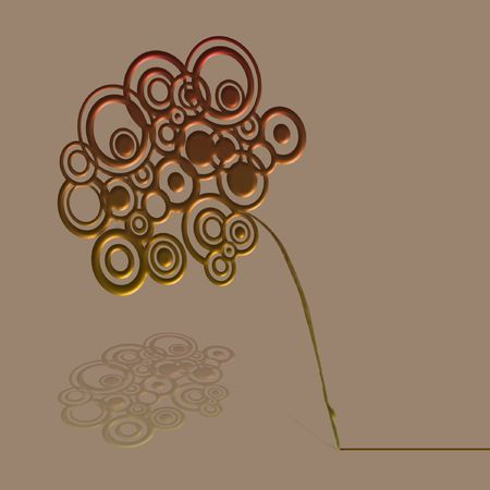 Circle Flower - illustration of a bronze and gold flower made of circles on a plant stem. Stock Photo