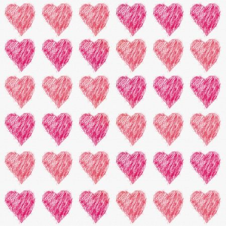 Valentine Hearts in various shades of red on white linen textured paper. Stock Photo
