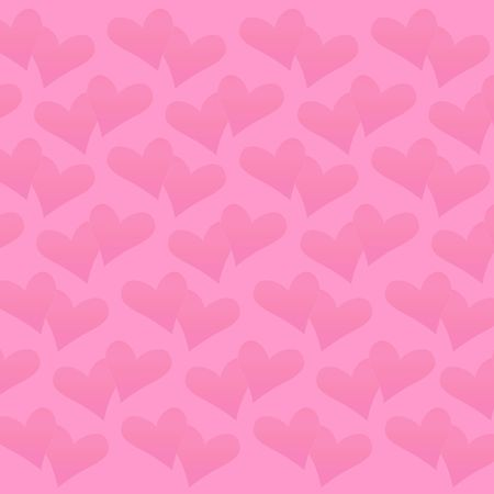 notecard: Valentine Hearts in deep pink on a light pink background.