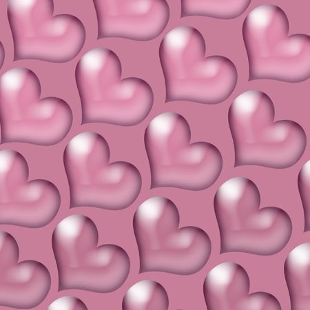 notecard: Pink Valentine Hearts on a pink background.  Stock Photo