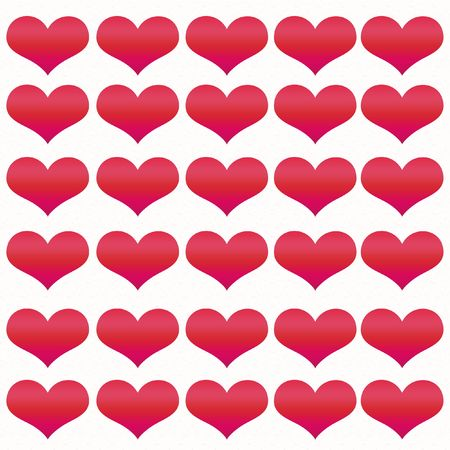notecard: Valentine Hearts in various shades of red on white textured paper.  Stock Photo