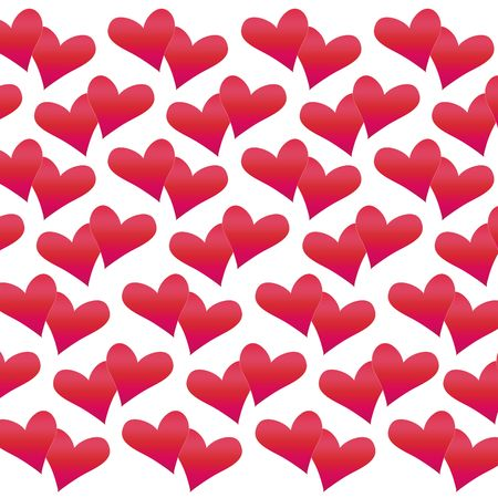 notecard: Valentine Hearts in various shades of red on white background.