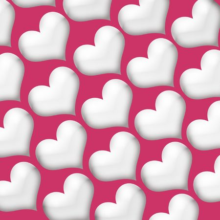 White Valentine Hearts on a deep pink red background.